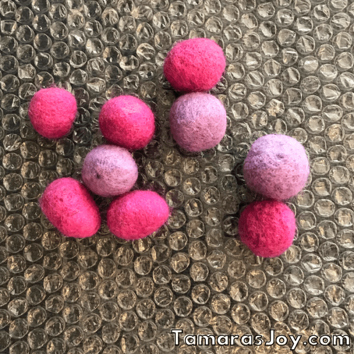 Wet Felted balls on bubble wrap
