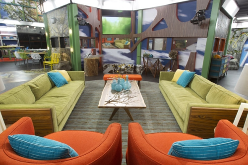 The BB16 living room is styled to look like an Urban Treehouse