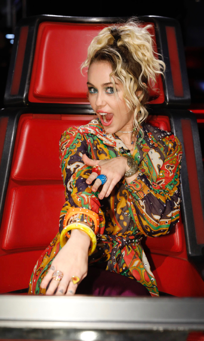 "THE VOICE -- ""Live Top 10"" Episode: 1116A -- Pictured: Miley Cyrus -- (Photo by: Trae Patton/NBC)"
