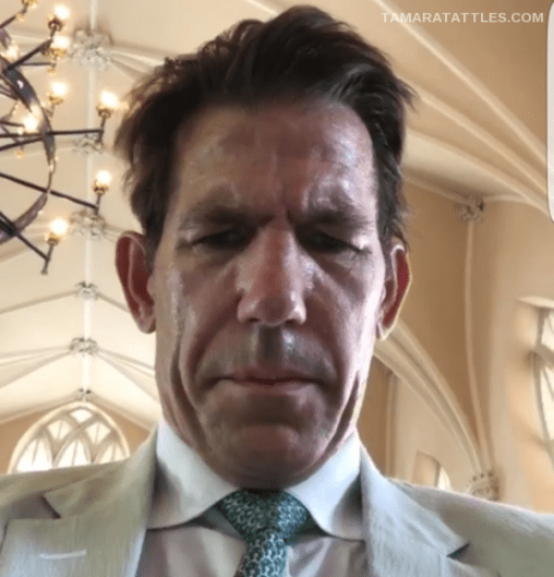 Thomas Ravenel looking terrible, hot, and sweaty inside a church