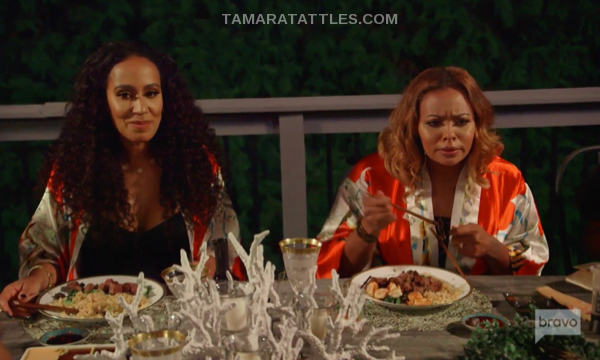 Tanya Sam and Eva Marcille looking confused
