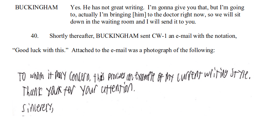 Jack Buckingham's Handwriting Sample