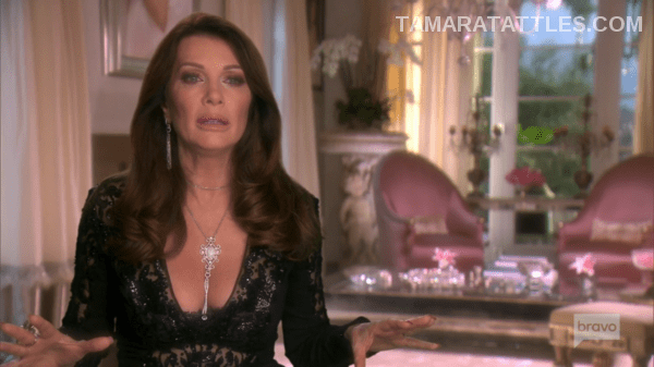Lisa Vanderpump talking head black lace dress