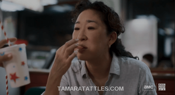Killing Eve Recap Eve eating dinner