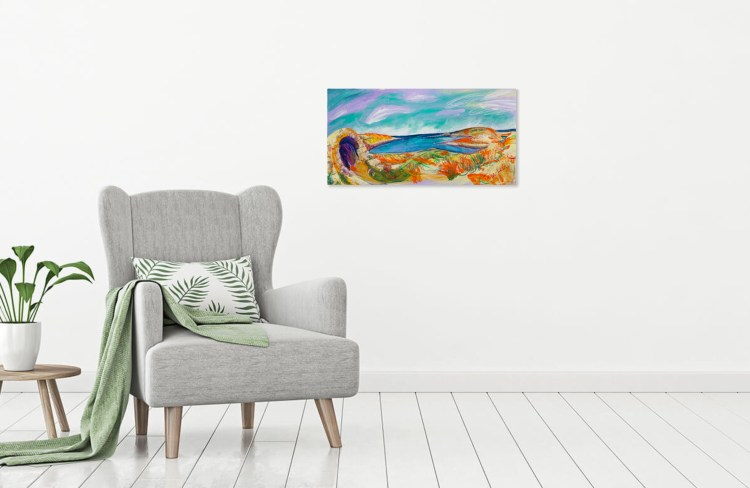 Preview this painting of Cape Tenaron in Greece as viewed in your home.