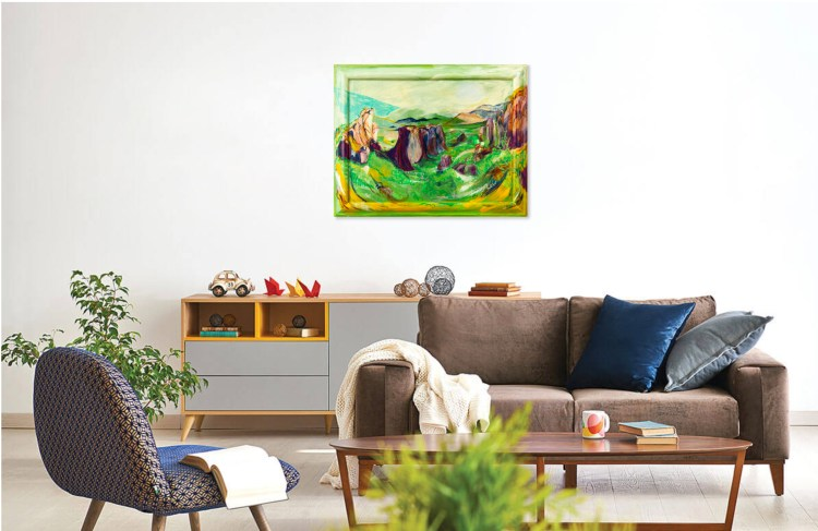 Preview this painting of Meteora in Greece as viewed in your home.
