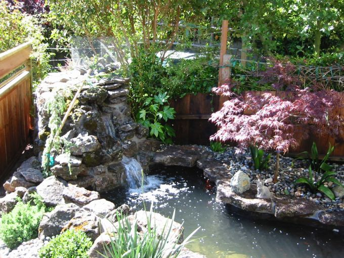 San Francisco fountain installation with koi pond