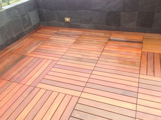 Asian style wood patio flooring construction