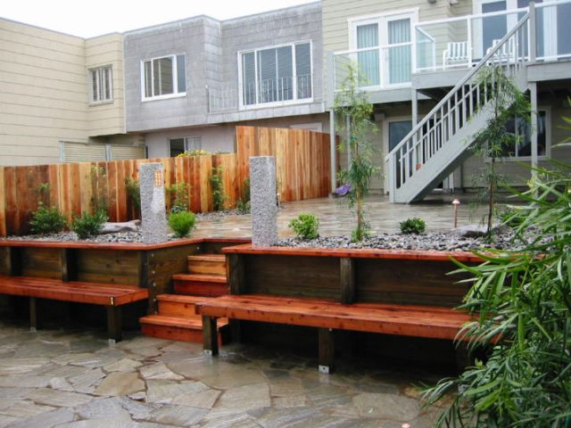 san francisco custom patio with built in bench construction