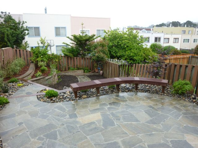 stone patio and build in bench