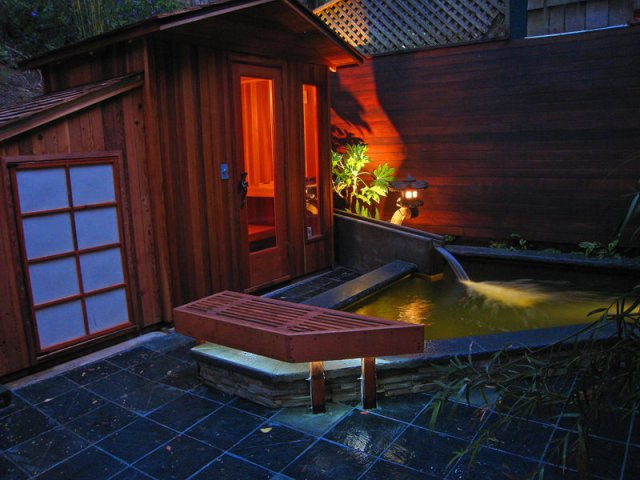 outdoor spa and koi pond lighting