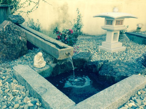Close up of custom self-sustaining water feature