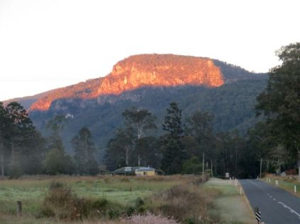 On the road - and the sun comes up over Ship's Stern mountain in the Numinbah Valley - where it's only 4 degrees C!