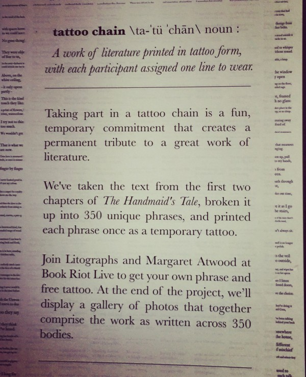 Margaret Atwood Tattoo Chain at Book Riot Live