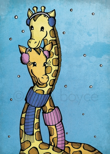 Giraffes with Scarves winter holiday