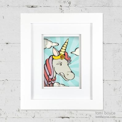 1_unicorn framed on wall