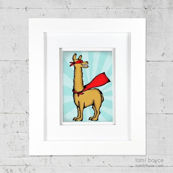 2_llama framed on wall
