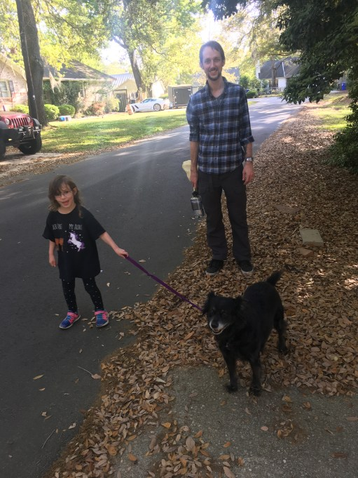 Our niece, walking her cousin