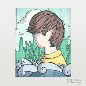 scenic whimsy boy with waves