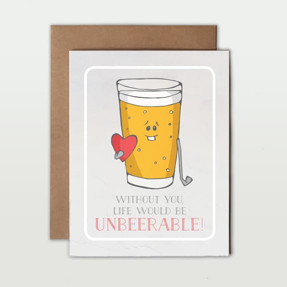 Love Pun Greeting Cards unbeerable