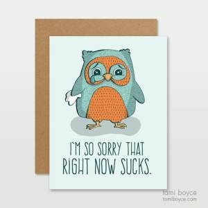 Right Now Sucks, Sad Owl, Greeting Cards