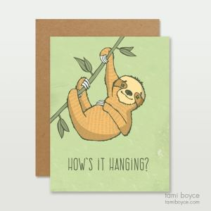 sloth how's it hanging greeting card