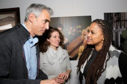 "PARK CITY, UT - JANUARY 23: President and chief executive officer of Tribune Media Company Peter Liguori (L) and director Ava DuVernay (R) attend the WGN America celebration of ""Underground"" with John Legend At The VIDA TEQUILA Lounge on January 23, 2016 in Park City, Utah. (Photo by Alison Buck/Getty Images for WGN America)"