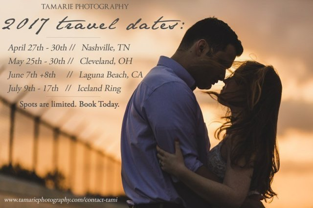 2017 Travel Dates for Tamarie Photography