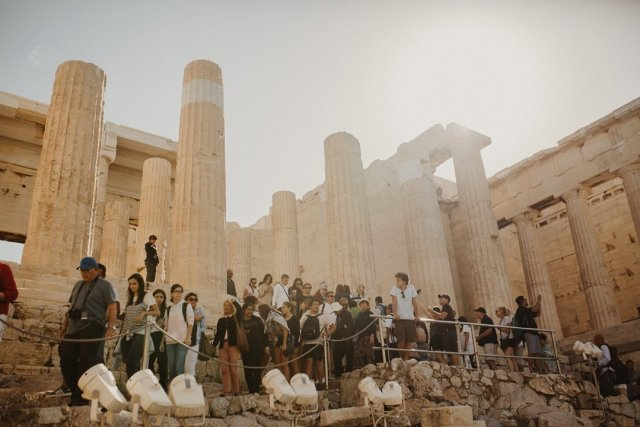 Lots of tourists at Acropolis in Athens Greece by Tami Keehn.