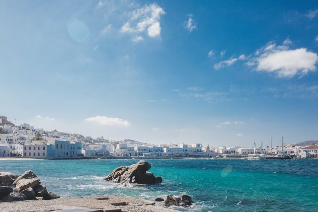 View of Mykonos Town, Greece from the new port by Tami Keehn