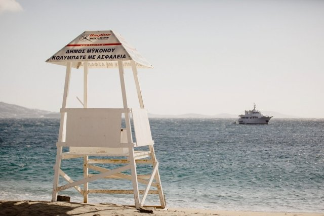 Lifeguard post at Agios Stephanos Beach in Mykonos, Greece by Tami Keehn