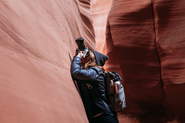 Me photographing inside of Antelope Canyon X in Page Arizona by photographer Jennifer Kielich