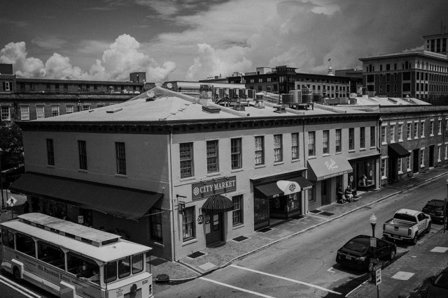 View of the City Market in Savannah, GA from the rooftop bar called The Grove.