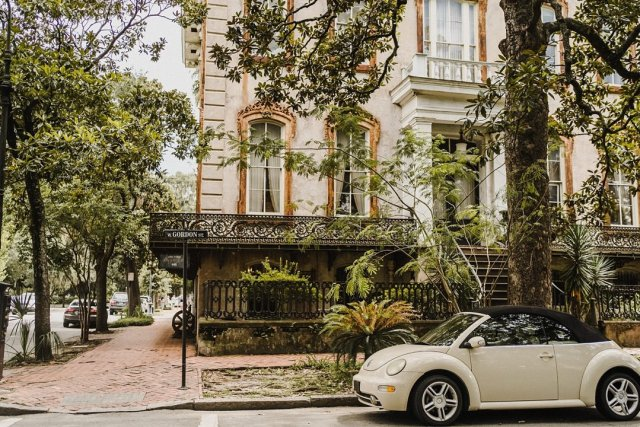 View of a corner street in downtown Savannah Georgia