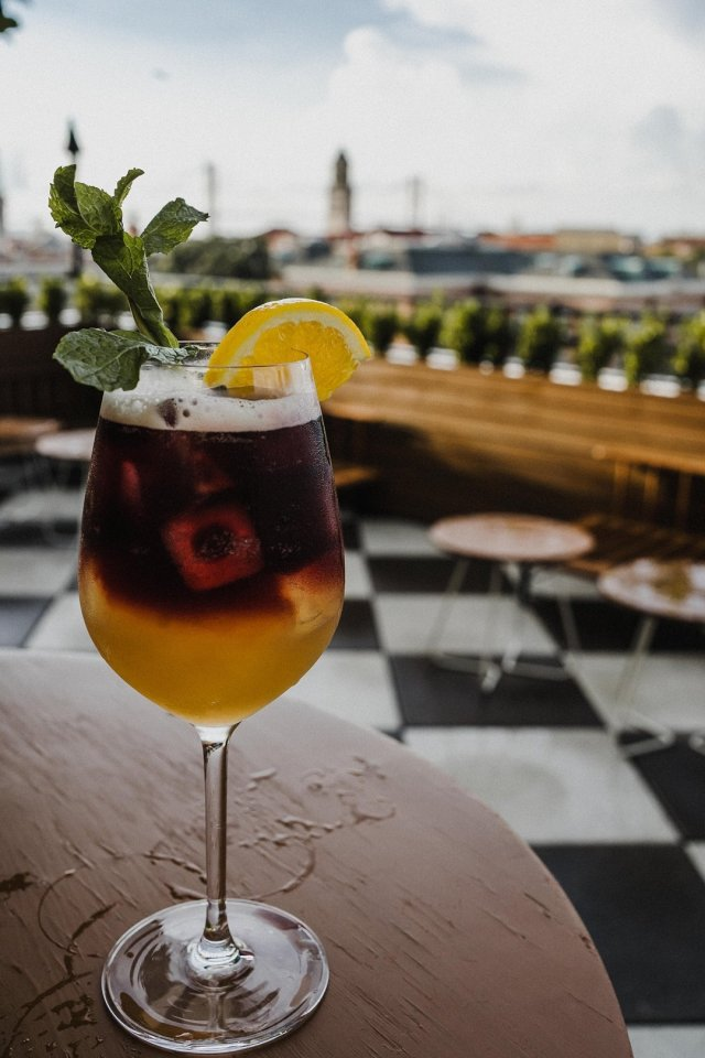 Drinks with a view at the Peregrin Rooftop lounge by Tami Keehn.
