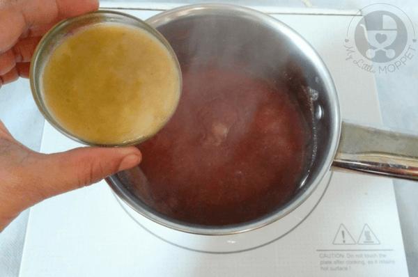 adding banana puree