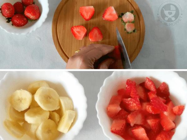 Chop the strawberries. Peel and slice the banana.