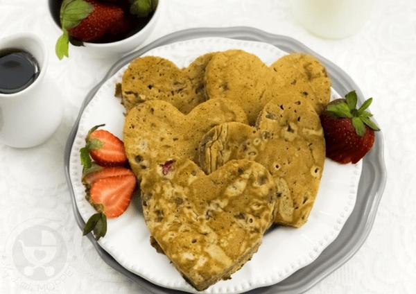cut into little heart pancakes.