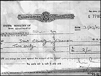 Cheque for two rupees