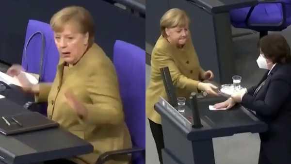 Angela Merkel Panicks as she Forgot Her Face Mask