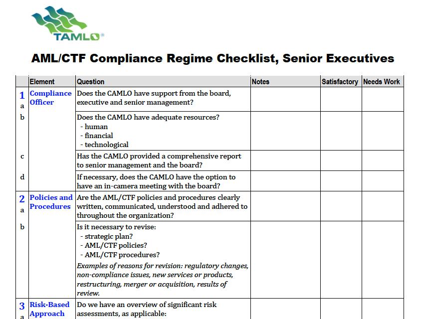 Exec's AML Compliance regime checklist
