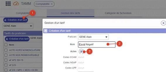 Création d'un tarif dans module comptabilite