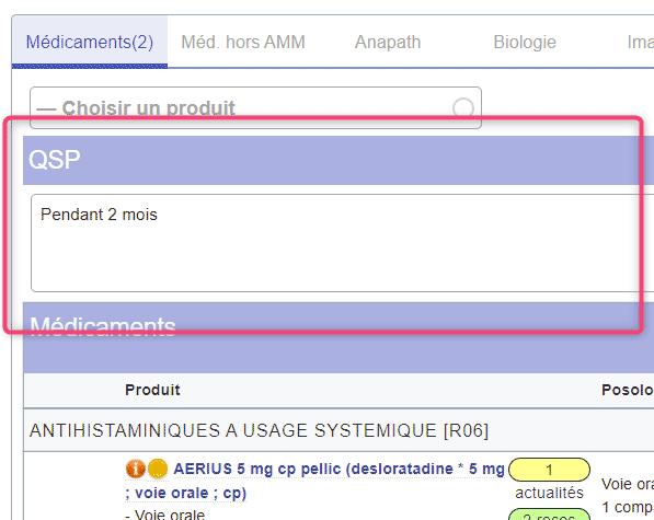 Prescription QSP durée