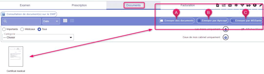 Depuis votre consultation cliquez sur document