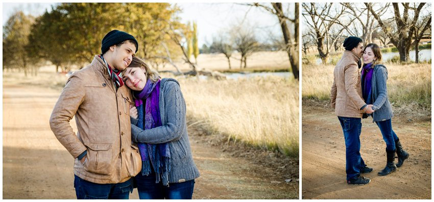 Engagement photo shoot at Bongani Mabaso Eco Park in Sasolburg, Winter and cosy themed pre-wedding couple shoot on location at a park, Vaal  couple session