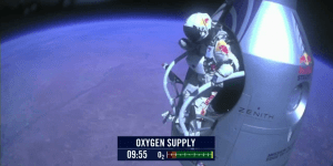 Baumgartner jumping from space capsule