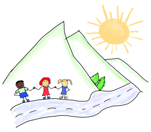 Mountains with 3 kids walking the path