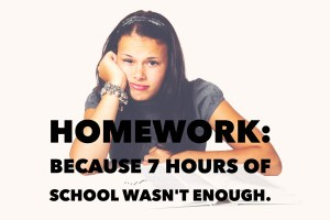 Teenage girl resting on her elbow doing homework.