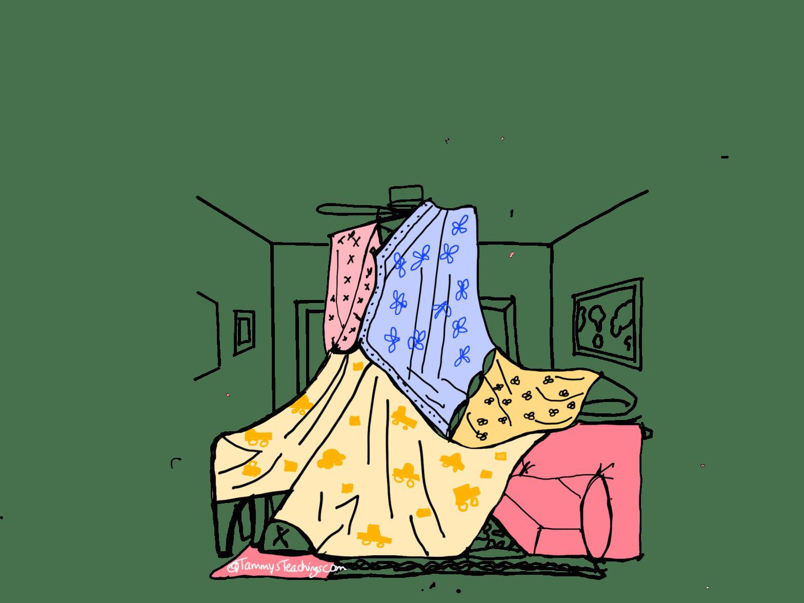 Indoor blanket fort