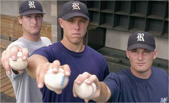 A pre surgery Jeff Niemann in 2003, along with Wade Townsend and Philip Humber. (Photo courtesy of Dennis Grundman/Associated Press)